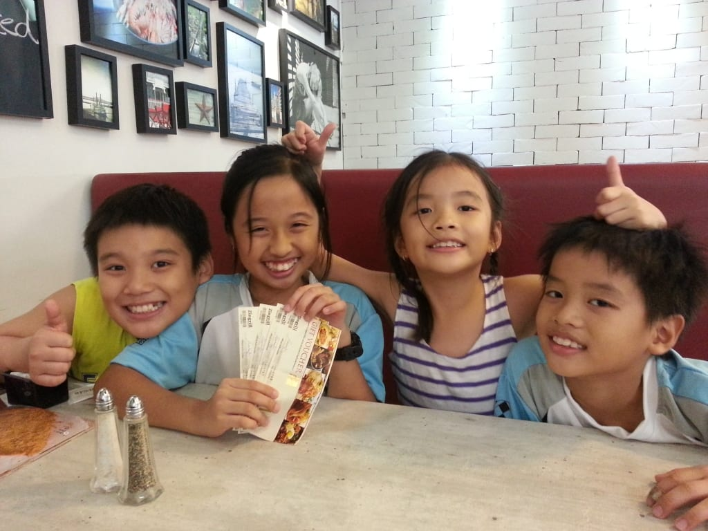 Tan Ann Ann with her children, niece and nephew at Breeks, Harbourfront.